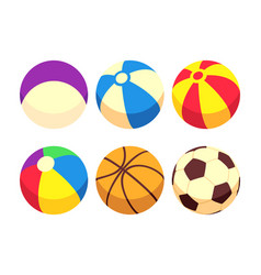Sport and toy balls icons isolated on white vector