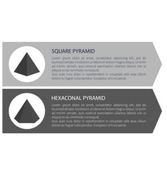 square and hexagonal pyramid vector image