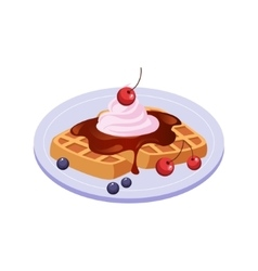 Sweet waffle breakfast food element isolated icon vector