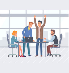teamwork office interior and workers business vector image