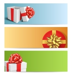 Three Festive Christmas Cards with Gift Boxes vector
