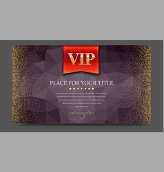vip or luxury red flag on dark polygonal vector image