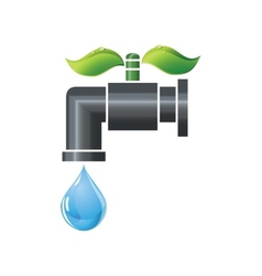 Water tap or faucet with droplet and green leaves vector image