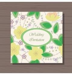 Wedding invitation on wooden background vector image
