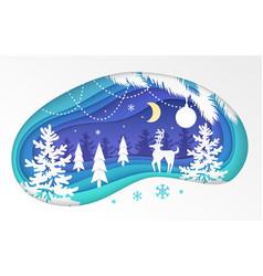 winter forest - modern paper cut vector image