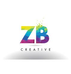 Zb z b colorful letter origami triangles design vector
