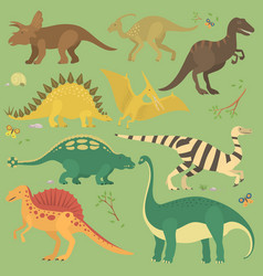 dinosaur vintage color seamless pattern vector image
