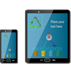 Smart phones with recycling signs vector image