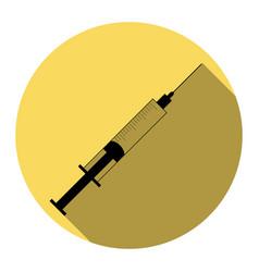 syringe sign flat black icon vector image