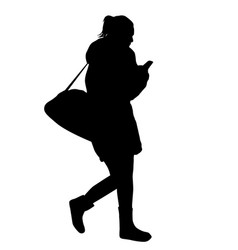 Woman silhouette walking and talking on the vector