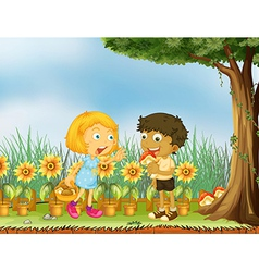 A girl stopping a boy from eating a mushroom vector image vector image