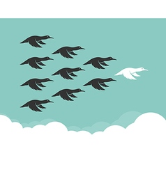 Flock of mallard flying in the sky vector image vector image