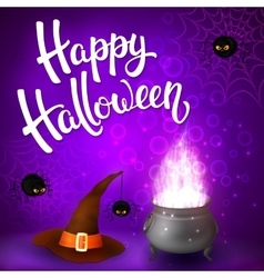 Halloween greeting card with witch cauldron vector image vector image