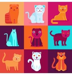 set of 9 flat cat vector image vector image