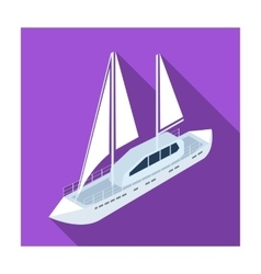 Yacht icon in flat style isolated on white vector image