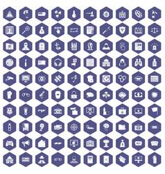 100 hacking icons hexagon purple vector image