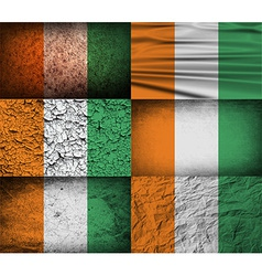 Flag of Cote divoire with old texture vector image