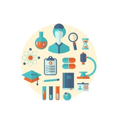 flat icon of objects chemical and medical research vector image vector image