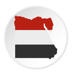 map of egypt in egyptian flag colors icon circle vector image vector image