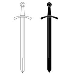 One-handed medieval knight sword Contour black vector image