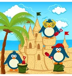penguin built sand castle vector image vector image