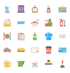 flat icon set of hotels and restaurants vector image vector image