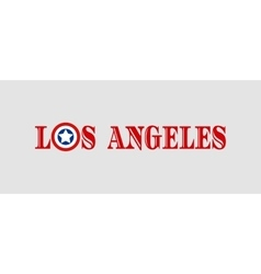 Los Angeles city name with flag colors vector image vector image