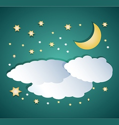 night clouds with moon and stars vector image vector image