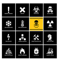 16 warning labels with flat icons vector