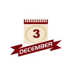 3 december calendar with ribbon vector
