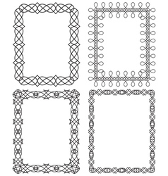 4 black geometric frame in different styles vector image