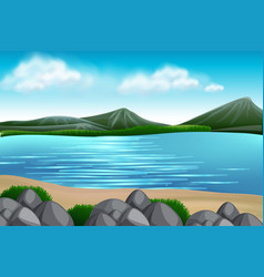 A nature lake view vector