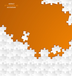 Abstract white group puzzle with orange background vector