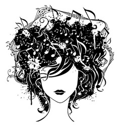Abstract woman with music in hair vector image