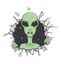 Angry alien breaks out through wall vector