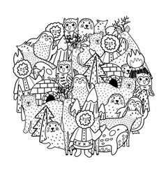 Arctic animals circle shape pattern for coloring vector