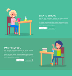 Back to school set of posters with boy and girl vector