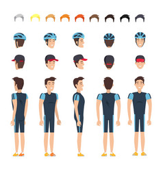 Bicyclist in elastic clothes character constructor vector