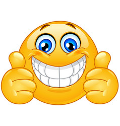 Big smile emoticon with thumbs up vector