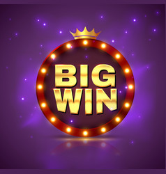 big win prize label winning game lottery poster vector image