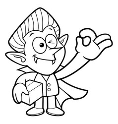 Black and white dracula mascot is a box and ok vector