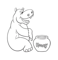 Black and white of happy cartoon hippopotamus who vector