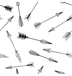 black isolated crossbow arrows seamless pattern vector image