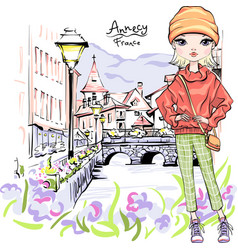 blond girl in ancy vector image
