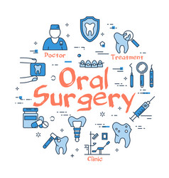 blue round oral surgery concept vector image