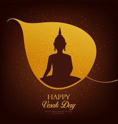 buddha in leaf bodhi tree vesak day holiday vector image