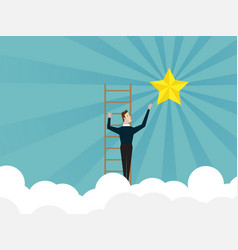 Businessman climbing on ladder and reach to star vector