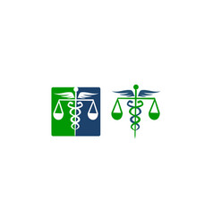 caduceus health balance set vector image