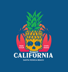 california fancy pineapple skull t-shirt print vector image