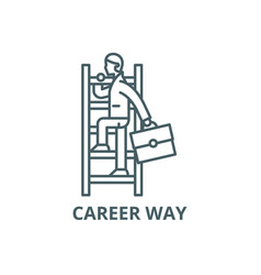 career way line icon career way outline vector image